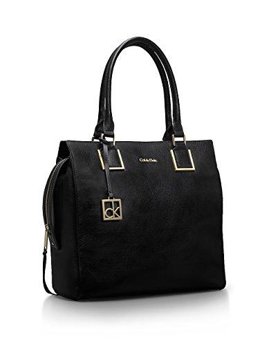 Calvin Klein Cecilia Structured Leather Tote Bag