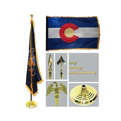 Colorado 4Ft X 6Ft Flag Telescoping Flagpole Base And Tassel
