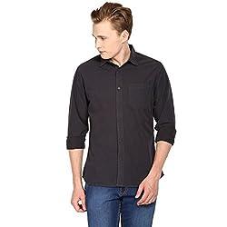 Hueman Black Full Sleeve Cotton Shirt