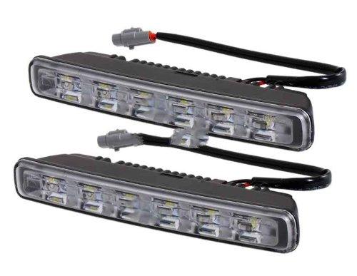 Philips A109 White Light Color 6-Led Car Daytime Running Lamp (Black)