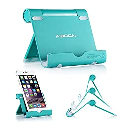 Aibocn Multi-Angle Aluminum Stand for Tablets Smartphones and E-readers Compatible With Apple iPhone iPad Air iPod Samsung Galaxy / Tab HTC Google Nexus LG OnePlus and More (Newest Version,Green)
