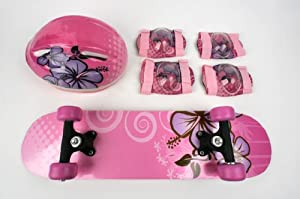 Buy Kids Skateboard & Protect Gear Combo Pink Girl design - CPSC Standard by TaoTao Manufacturer
