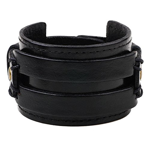 MORE FUN Fashion Good Matching Genuine Leather Wide Cuff Bracelet with Snap Button (Black)