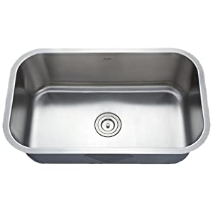 Kraus KBU14 30-Inch Undermount Single Bowl 16 gauge Kitchen Sink, Stainless Steel