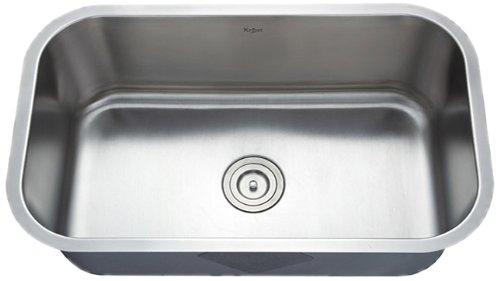 Kraus KBU14 30-Inch Undermount Single Bowl 16 gauge Kitchen Sink, Stainless Steel
