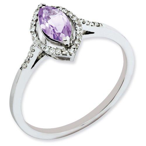 Sterling Silver Pink Quartz & Diamond Ring