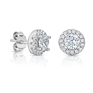 SPOIL CUPID 925 Sterling Silver Earrings - AAA Simulated Diamond Classic Halo Stud - 6mm Main Stone