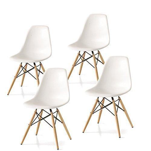 Set 4 Sedie mod DSW bianca in polipropilene e gambe in legno di faggio PDF