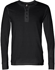 Bella Canvas Men's Jersey Long-Sleeve Henley - BLACK - S