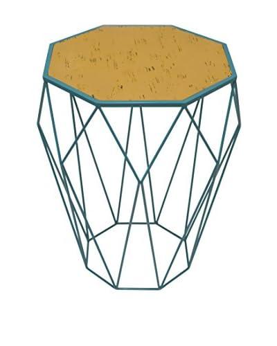 Three Hands Geometric Metal Accent Table, Aqua