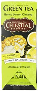 Celestial Seasonings Honey Lemon Ginseng Green, 25-Count Tea Bags (Pack of 6)