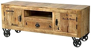 Sit-Möbel 1915-02 mueble rústico mango-acabado antiguo con marcas de uso, 140 x 40 x 55 cm, 2 puertas de madera, 1 cajón, 1 bolsillo abierto