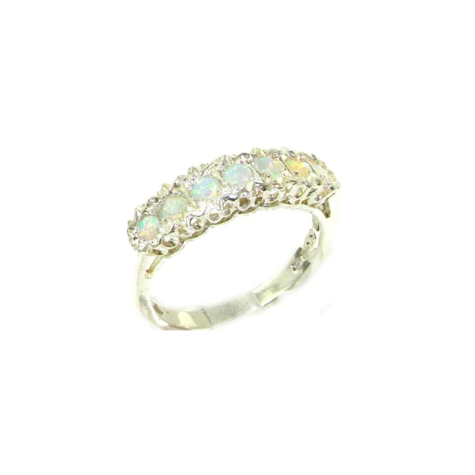 925 Sterling Silver Natural Opal Womens Eternity Ring   Sizes 4 to 12 Available