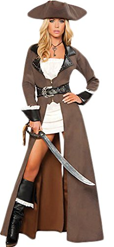 [Women's Sexy Halloween Deluxe Pirate Costume Fancy Dress (Free Size)] (Pirate Coat For Sale)