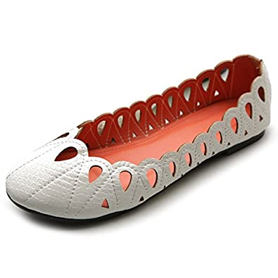 Ollio Women's Ballet Shoe Cutout Easy Flat(5.5 B(M) US, White)