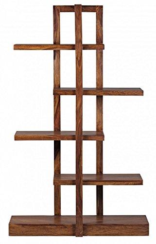 Wohnling Bücherregal Massiv-Holz Sheesham 180 cm Wohnzimmer-Regal ...