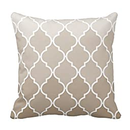 Trendy Chic Girly Cream Brown Quatrefoil Pattern Throw Pillow Cover 18\