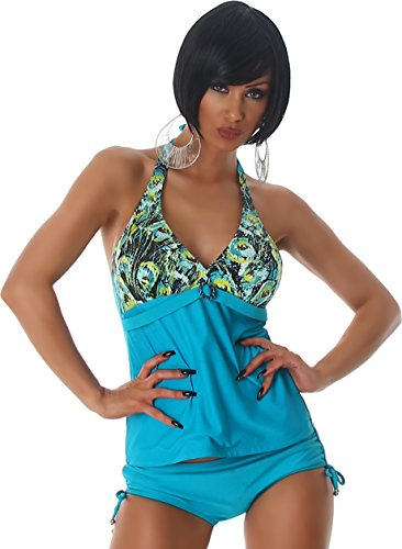 Esther Queen Stampa Donna Tankini Bikini due pezzi Halter Uni Push-Up Bikini Top Beachwear degli animali 42/44 Turchese