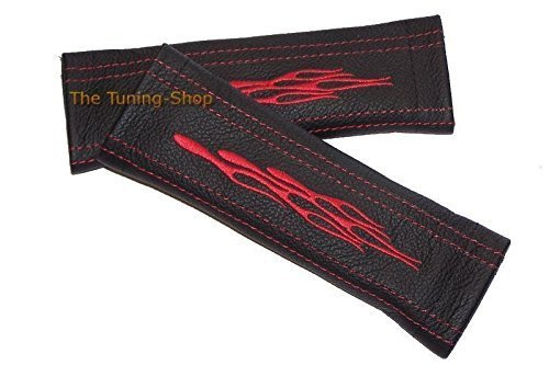 The Tuning-Shop Ltd 2X Seat Belt Covers Pads Shoulder Black Leather Red Flames Embroidery 22Cm X 6Cm (Red Flame Seat Covers compare prices)