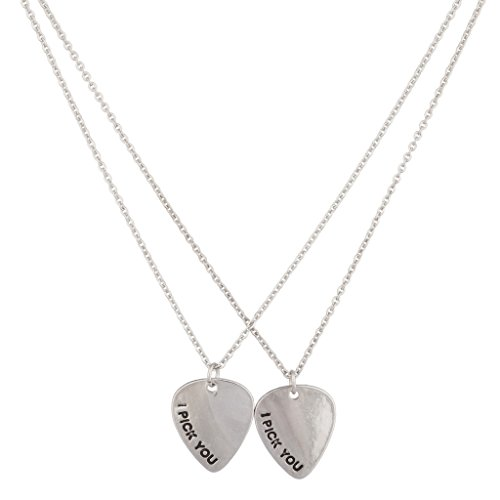 Lux Accessories I Pick You Guitar Bass Lover Pendant Necklace 2PC
