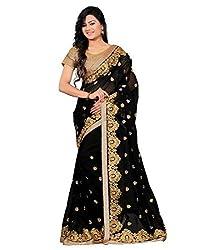 Shree fashion women's Top Fabrics semi stitched black GEORGEETE saree