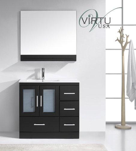 Virtu Usa Ms-6736-C-Es Modern 36-Inch Single Sink Bathroom Vanity Set With Polished Chrome Faucet, Espresso