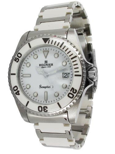 Régnier Semplicita R1312 Men's Stainless Steel And White Ceramic Strap Watch 2030112