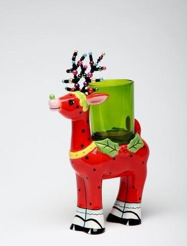 5.75 Inch Red Polkadot Reindeer With Green Glass Votive Candle Holder