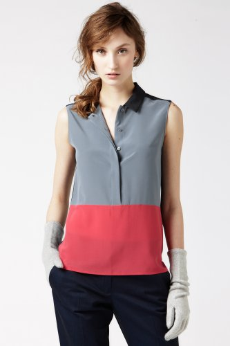Sleeveless Crepe Silk Color Block Woven Shirt