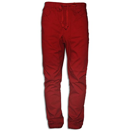 Basico Men's Twill Jogger Pants Trousers (Medium, Red) (Silk Pant Liner compare prices)