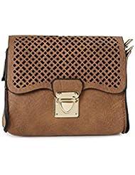 ToniQ Brown Geomentric Cut-Work Sling Bag Girls,Women(Brown)
