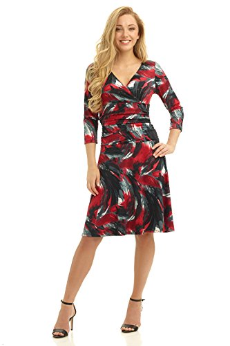 rekucci-womens-slimming-3-4-sleeve-fit-and-flare-crossover-tummy-control-dress-18brushstroke-wine