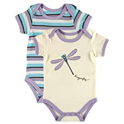 Touched by Nature Baby-Girls Organic Bodysuits, Dragonfly, 9-12 Months (Pack of 2)