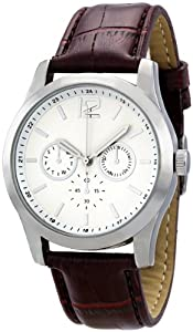 FMD White Dial Faux Brown Crocodile Leather Mens Watch ZRT15537F10