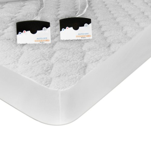 Biddeford Blankets Sherpa Electric Heated Mattress Pad with Digital Controller, King, White