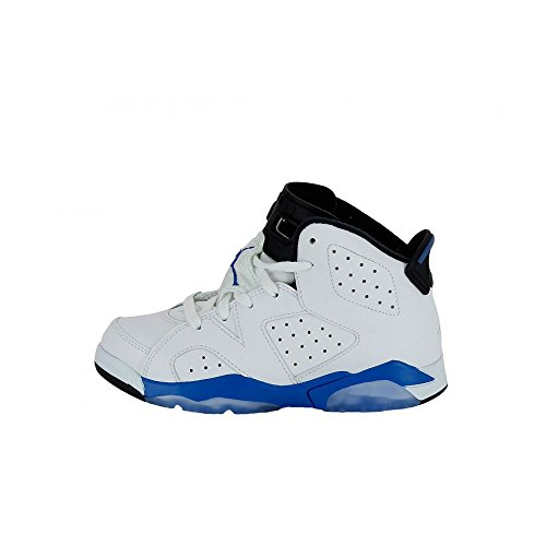 Nike Jordan 6 Retro BP Kids White/Black/Sport Blue 384666-107 (SIZE: 1Y)