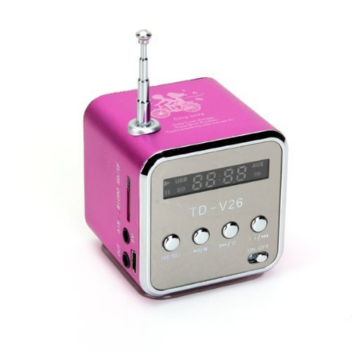 Lightahead® Td-V26 Mini /Portable Speaker With Led Display Fm Radio,Mp3 Player ,Micro Sd For Mobile Devices (Square) Chose From Pink,Blue,Silver,Black (Pink)