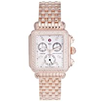 Michele Womens Deco 18K Rose Gold Plate Diamond Chrono Watch MW06P01B0046