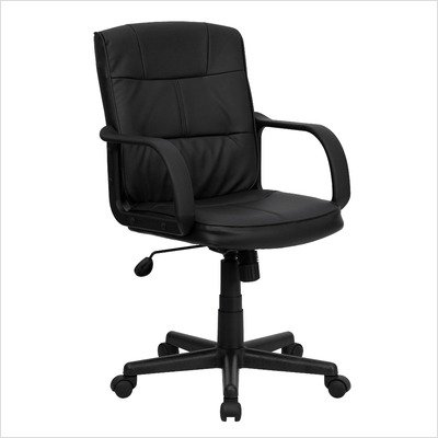Eco-Friendly Black Leather Mid-Back Office Chair [GO-228S-BK-LEA-GG]