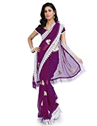 Purple Wedding Wear Saree Indian Designer Embroidery Bollywood Chiffon Sari