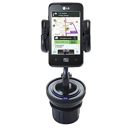 Sistema di Supporto Esclusivo Comprensivo di Supporti Flessibili per Parabrezza e Porta-Bicchieri per LG Univa - Protegge il tuo dispositivo in qualsiasi auto/camion