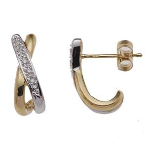 Boucles d'oreille Femme - E-10823 - Or jaune (9 cts) 1.9 Gr - Diamant