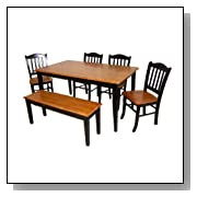 6pc Casual Dining Table And Chairs Set With Bench In Oak And Black Finish