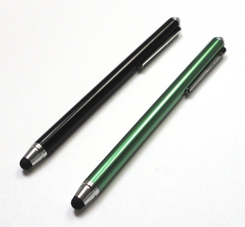 Bargains Depot® (Black & Green) 2 pcs (2 in 1 Bundle Combo Pack) SILM / ACCURATE / FINE POINT / THINNER BARREL Capacitive Stylus/styli Universal Touch Screen Pen for Tablet & Cell Phone : HTC EVO View 4G Android Tablet, HTC Flyer 7 inch Android Tablet 16