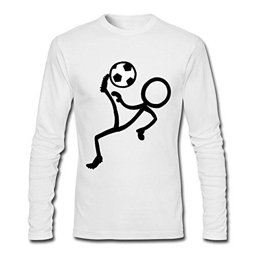 YLAUO che gioca a calcio, da uomo, maglietta a maniche lunghe in cotone bianco L