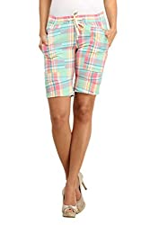 Ladybug Women Casual Check Shorts in Pastel Checks