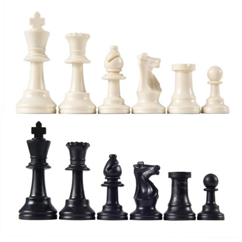 "Unweighted Tournament Chess Pieces with 3 3/4"" King"