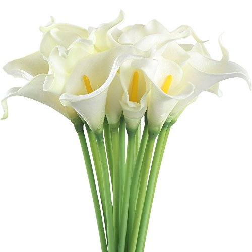 Gtidea 20pcs Calla Lily Wedding Artificial flowers Bouquets PU Arrangements Bride Home DIY Garden Office Decor White