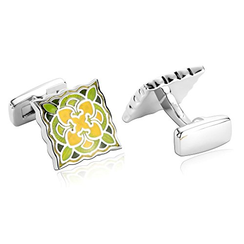 AmDxD Jewelry Stainless Steel Men Cufflinks Yellow Green Decorative Flower Pattern Square Cuff Links (Ny Giants Tie Clip compare prices)