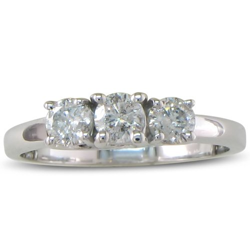 1/2ct Three Diamond Engagement Ring in Sterling Silver ( Sizes 4-9_